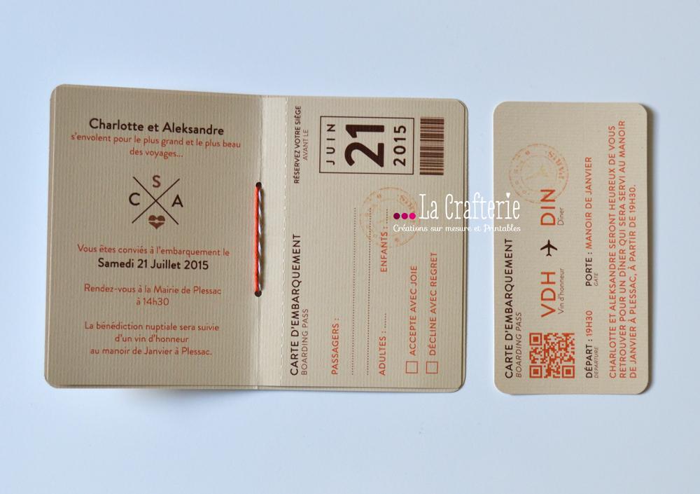 mini boarding pass carton d invitation mila la crafterie. Black Bedroom Furniture Sets. Home Design Ideas