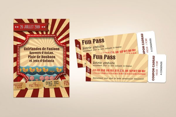 Faire-part et Ticket d'invitation fête foraine