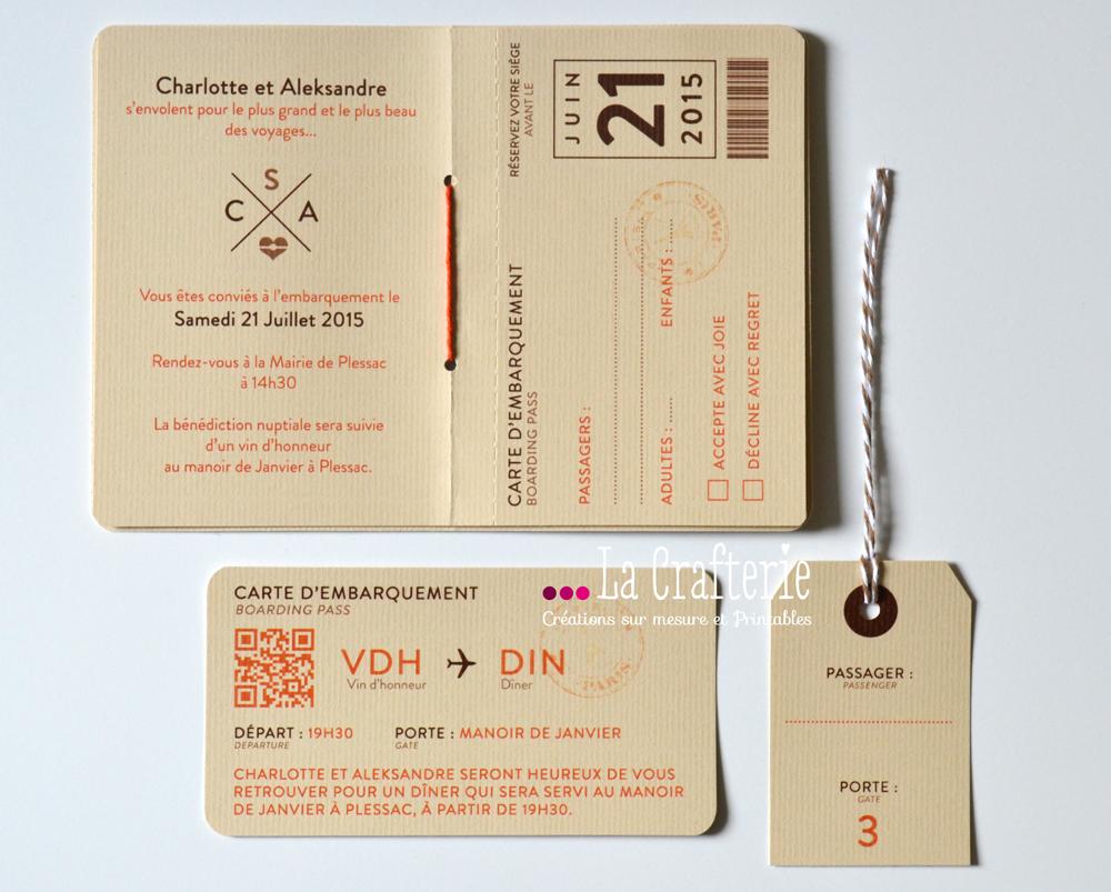 Mini boarding pass carton d invitation mila la crafterie - Salon creation et savoir faire billet gratuit ...