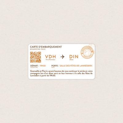 Mini boarding Pass : carton d'invitation Mariage, thème voyage