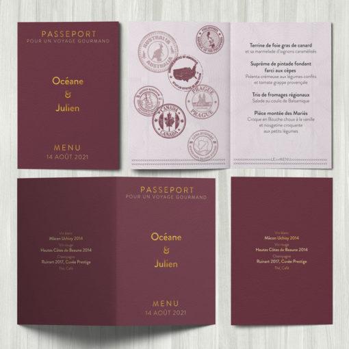 Menu Passeport, mariage thème voyage