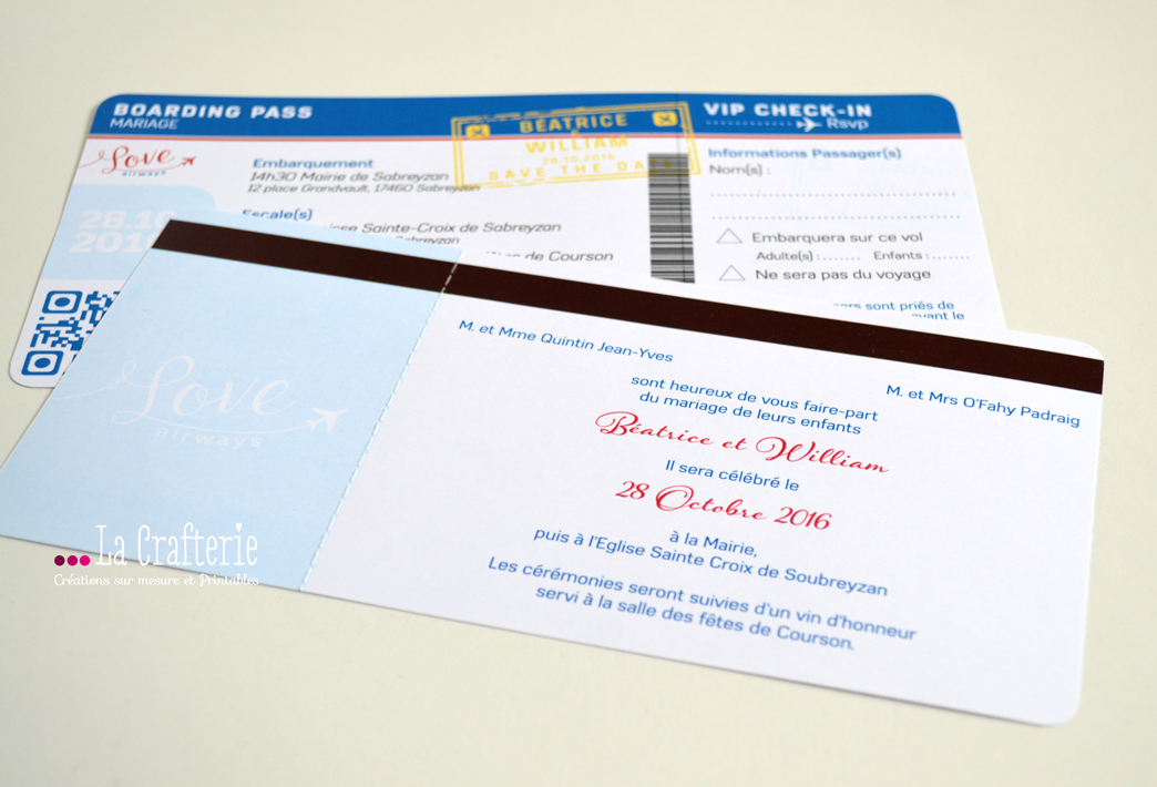 Diy faire part billet d avion love airways a - Modele billet avion a imprimer ...