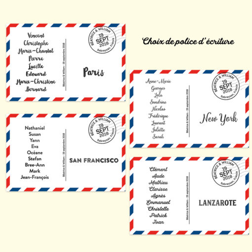 Carte postale plan de table