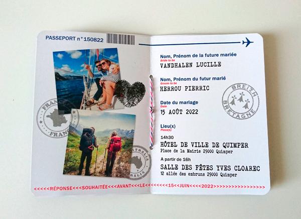 Faire-part Passeport Mariage