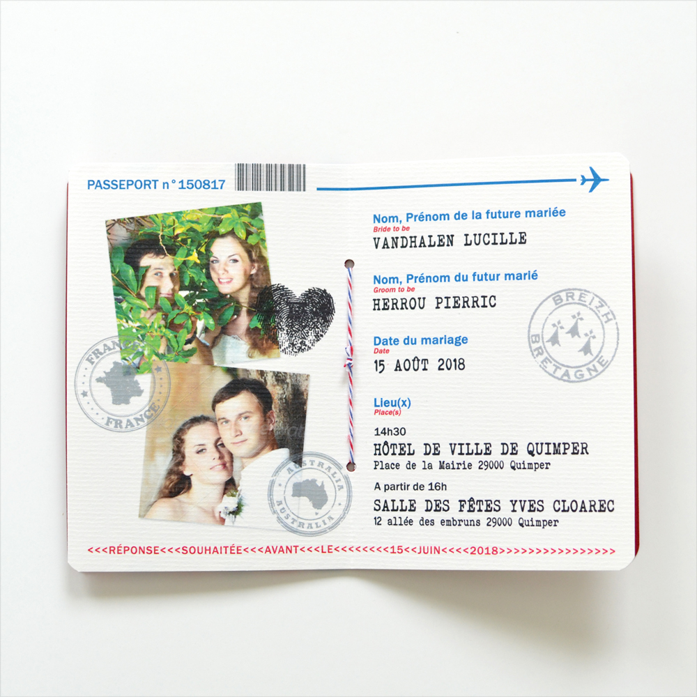 faire part mariage passeport perfect faire part passeport mariage sur mesure voyage with faire. Black Bedroom Furniture Sets. Home Design Ideas