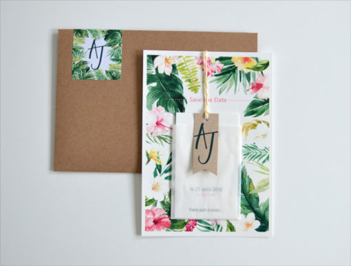 Save the date Mariage Tropical