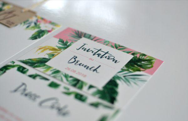 Carton d'invitation Mariage tropical
