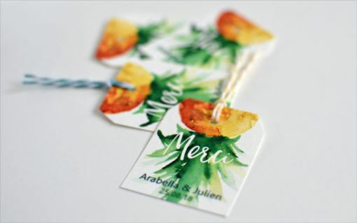 Etiquette cadeau thème tropical