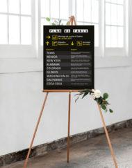 Plan de table mariage sous forme de tableau de départs
