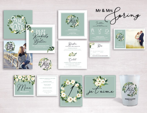 Collection faire-part Mariage Mr & Mrs Spring