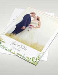 Carte de remerciement Mariage. Thème chic et nature.