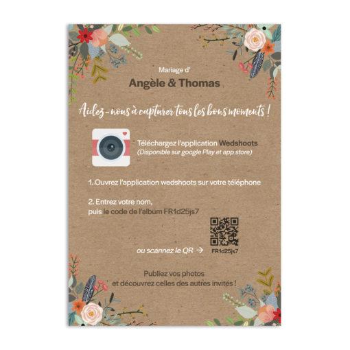 Carte instructions WedShoots à imprimer. Une jolie façon d'expliquer à vos invités comment se joindre à votre album WedShoots.