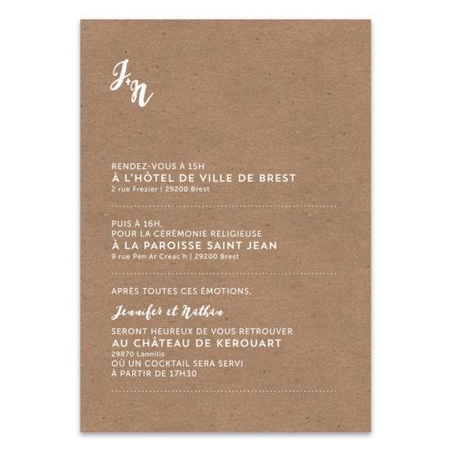 Faire-part Mariage kraft, écritures blanches, moderne