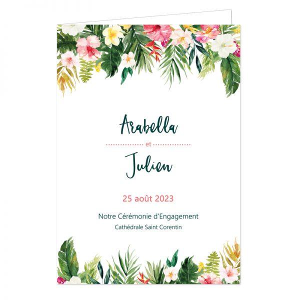 Couverture Livret de cérémonie de mariage, thème tropical