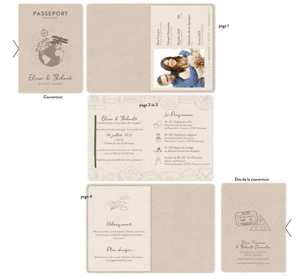Faire-part Passeport Mariage, thème Voyage. Collection Globetrotter - La Crafterie