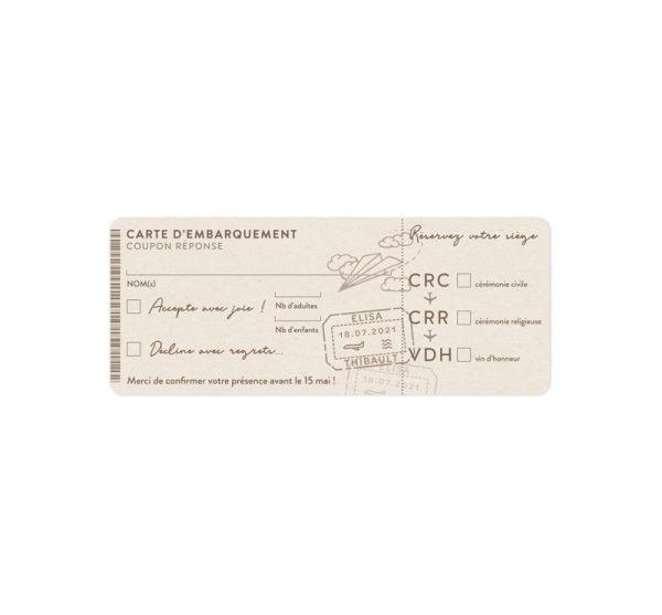 Coupon réponse Mariage, thème Voyage #RSVP. Collection Globetrotter - La Crafterie