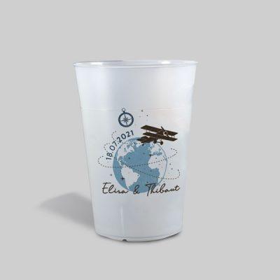 Gobelet personnalisé Mariage, thème Voyage. Collection Globetrotter - La Crafterie