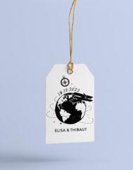 Tampon personnalisé Mariage, thème Voyage. Collection Globetrotter - La Crafterie