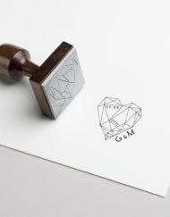 Tampon Mariage personnalisé coeur géométrique